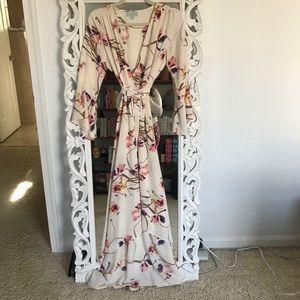 Veronica M Cream Floral Maxi Wrap Dress